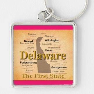 Gealterte Delaware-Staatsstolz-Karte Schlüsselanhänger
