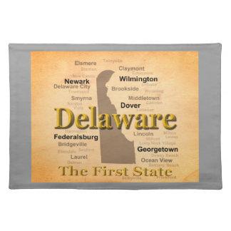 Gealterte Delaware-Staatsstolz-Karte Tischset