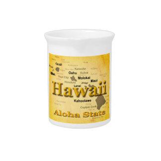 Gealterte Hawaii-Staatsstolz-Karten-Silhouette Krug