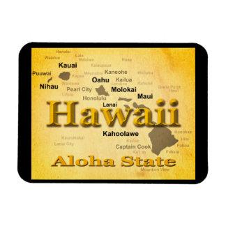 Gealterte Hawaii-Staatsstolz-Karten-Silhouette Magnet