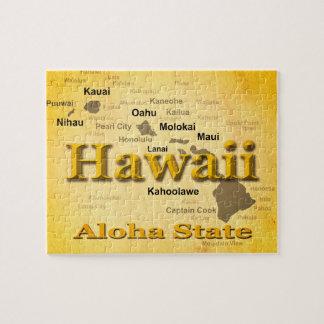 Gealterte Hawaii-Staatsstolz-Karten-Silhouette Puzzle