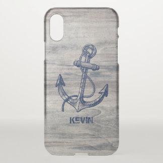 Gealterte hölzerne Planken u. blauer iPhone X Hülle