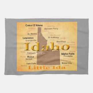 Gealterte Idaho-Staatsstolz-Karten-Silhouette Handtuch