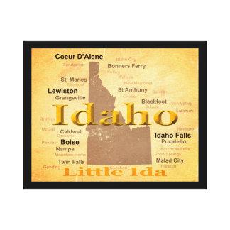 Gealterte Idaho-Staatsstolz-Karten-Silhouette Leinwanddruck