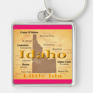 Gealterte Idaho-Staatsstolz-Karten-Silhouette Schlüsselanhänger