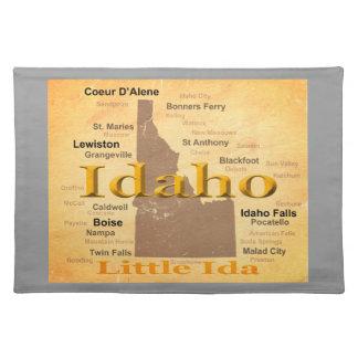 Gealterte Idaho-Staatsstolz-Karten-Silhouette Tischset