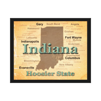Gealterte Indiana-Staatsstolz-Karten-Silhouette Leinwanddruck