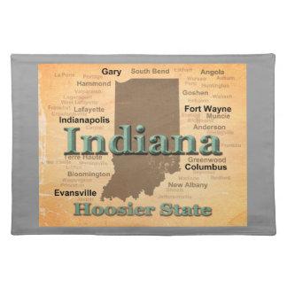 Gealterte Indiana-Staatsstolz-Karten-Silhouette Tischset