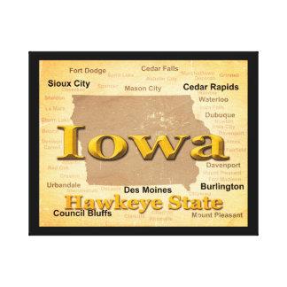 Gealterte Iowa-Staatsstolz-Karten-Silhouette Leinwanddruck