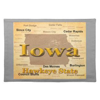 Gealterte Iowa-Staatsstolz-Karten-Silhouette Tischset