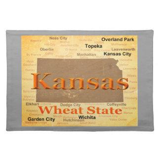 Gealterte Kansas-Staatsstolz-Karten-Silhouette Stofftischset