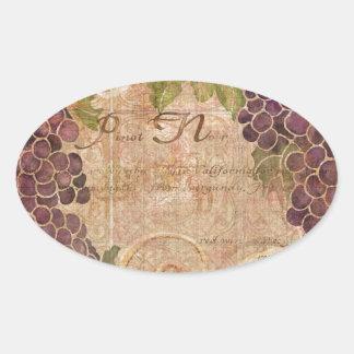 Gealterte Trauben-Weinbergwatercolor-Wohngestaltun Ovaler Aufkleber
