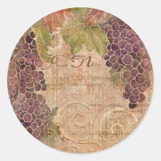 Gealterte Trauben-Weinbergwatercolor-Wohngestaltun Runde Aufkleber