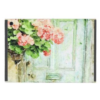Gealterte Tür mit Pelargonien iPad Mini Schutzhülle