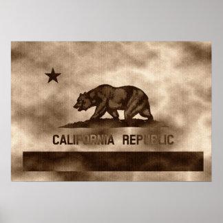Gealterte Vintage Kalifornien-Flagge Poster