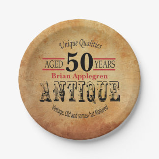 Gealterter, antiker und Vintager 50. Pappteller