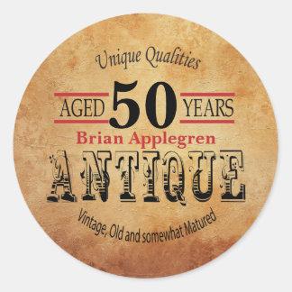 Gealterter, antiker und Vintager 50. Runder Aufkleber
