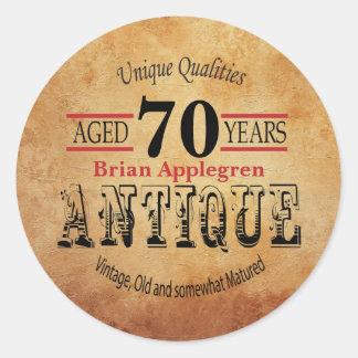 Gealterter, antiker und Vintager 70. Runder Aufkleber