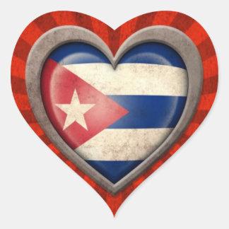 Gealtertes kubanisches Flaggen-Herz mit hellen Sticker