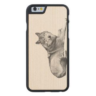 Geätzter Hund auf hölzernem Telefon-Kasten! Carved® iPhone 6 Hülle Ahorn