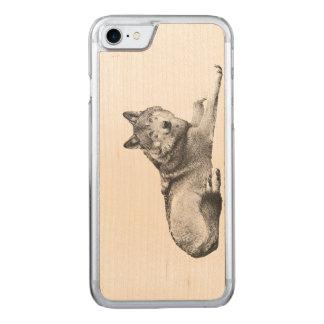 Geätzter Hund auf hölzernem Telefon-Kasten! Carved iPhone 8/7 Hülle