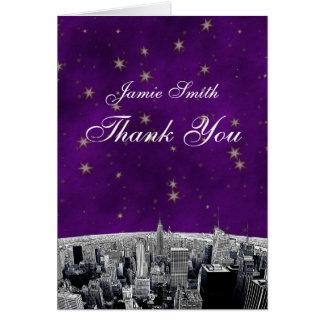 Geätzter lila Goldstern NYC Skyline-2 danken Ihnen Karte
