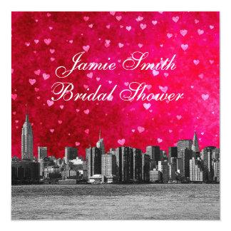Geätztes NYC Skyline heißes rosarotes Hrt Quadratische 13,3 Cm Einladungskarte