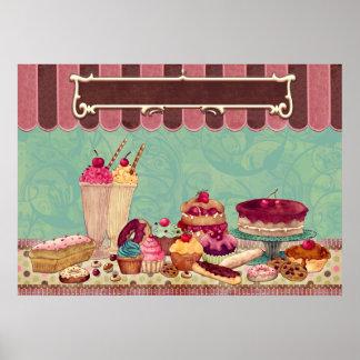 Gebäck-kleiner Kuchenpatisserie-Bäckerei-Geschäfts Posterdrucke