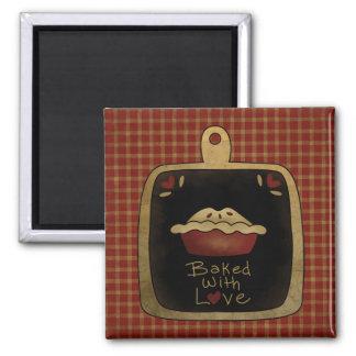 Gebacken mit Liebe-Apfelkuchen-Kühlschrankmagnet Quadratischer Magnet