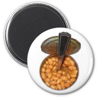 Gebackene Bohnen in der Blechdose mit Löffel Runder Magnet 5,1 Cm