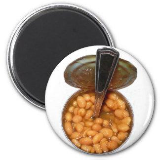 Gebackene Bohnen in der Blechdose mit Löffel Kühlschrankmagnet