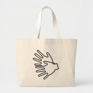 Gebärdenspracheikone Einkaufstaschen