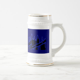 Gebäude 1986 Oxfords England windt sich Blau Bierglas