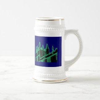 Gebäude 1986 Oxfords England windt sich Grün Bierglas
