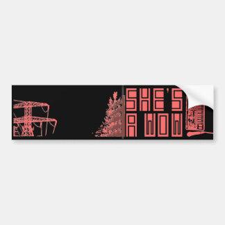 Gebäude auf Feuer/Synth Autoaufkleber