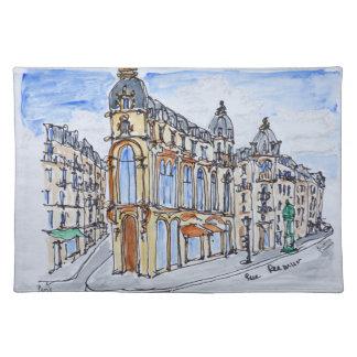 Gebäude auf Rue Reaumur, Paris, Frankreich Stofftischset