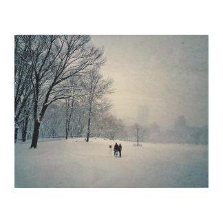 Gebäude ein Snowman in Central Park Holzdruck