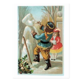 Gebäude ein Snowman Postkarte