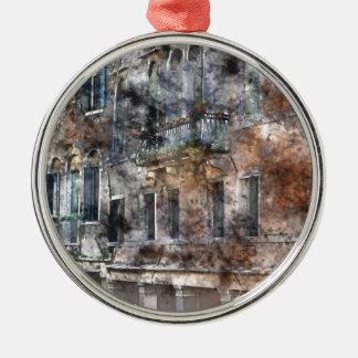 Gebäude Venedigs Italien Rundes Silberfarbenes Ornament