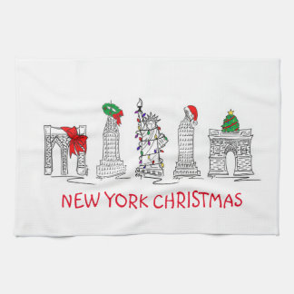 Gebäude-Weihnachtstuch New- York Geschirrtuch