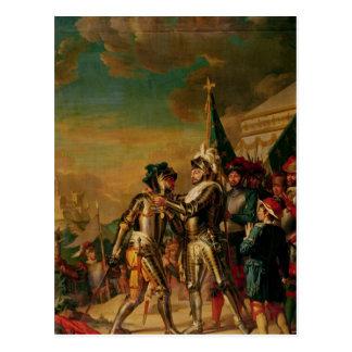 Geben der Kette des Auftrages von Saint-Michel Postkarte