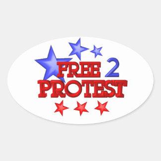 Geben Sie 2 frei, die Protest auf 30 Einzelteilen Ovaler Aufkleber