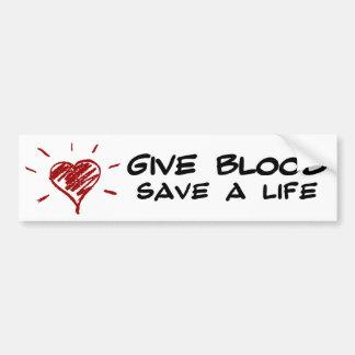 Geben Sie Blut retten ein Leben Autoaufkleber