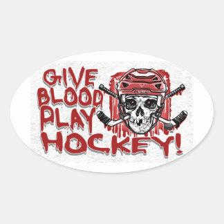 Geben Sie Blut-Spiel-Hockey-Rot Ovaler Aufkleber