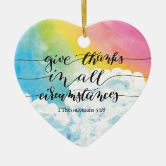 Geben Sie Dank alle Umstände 2 Keramik Herz-Ornament
