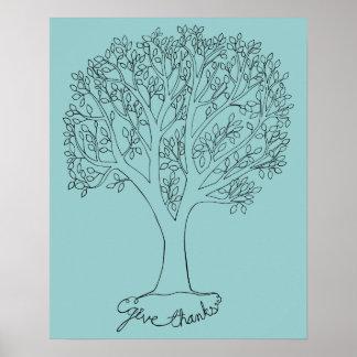 Geben Sie Dank-Baum Plakate