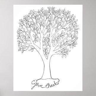 Geben Sie Dank-Baum Posterdrucke