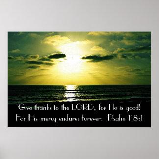 Geben Sie dank das Lordbibel-Vers Psalm-118:1 Poster
