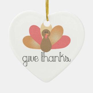 geben Sie Dank-Erntedanktruthahn Keramik Herz-Ornament