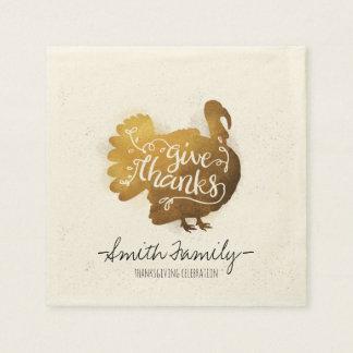 Geben Sie Dank. Familien-Erntedank-Feier Papierserviette